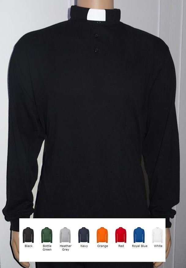 c00fbcf4a48d4f Men's Clerical Clergy Polo Shirt - Long Sleeved 100% Cotton (CP092AB ...